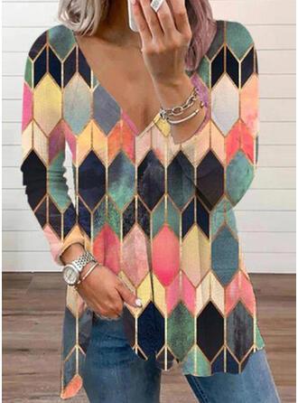 Print Geometric V-Neck Long Sleeves T-shirts