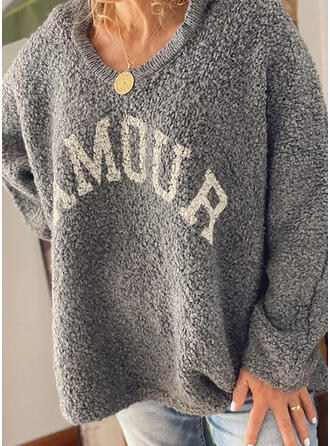 Drucken Mit Kapuze Freizeit Pullover