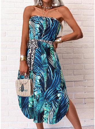Print/Leopard Sleeveless A-line Skater Casual/Vacation Midi Dresses