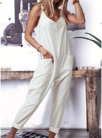 Solid Strap V-Neck Sleeveless Casual Jumpsuit