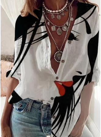 Print Button Lapel Long Sleeves Button Up Casual Shirt Blouses