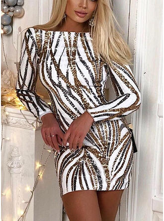 Sequins/Backless Long Sleeves Bodycon Above Knee Sexy Dresses