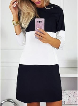Color Block 3/4 Sleeves Shift Above Knee Casual Tunic Dresses