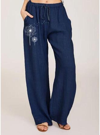 Taschen Shirred Übergröße Lange Boho Lässige Kleidung Druck Hosen