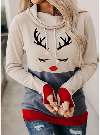Print Color Block Long Sleeves Christmas Sweatshirt