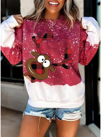 Animal Print Grid Round Neck Long Sleeves Christmas Sweatshirt