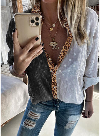 PolkaDot Leopard Lapel Long Sleeves Button Up Casual Shirt Blouses