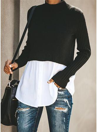 Patchwork Stehkragen Freizeit Pullover