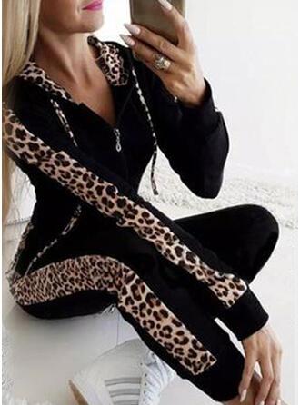 Geometrisch Übergröße Leopard Lange Lässige Kleidung Sexy Sportlich Hosen