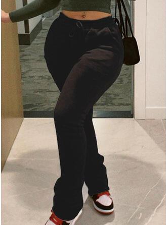 Einfarbig Kordelzug Lange Lässige Kleidung Sportlich Hosen