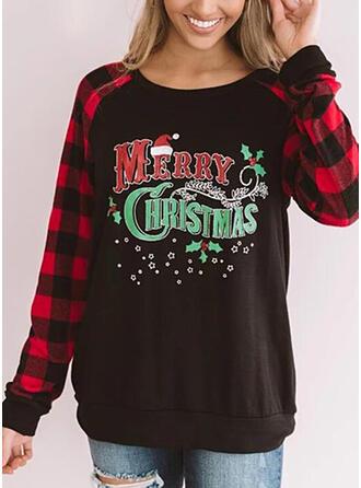Gitter Figur Rundhals Lange Ärmel Weihnachts-Sweatshirt