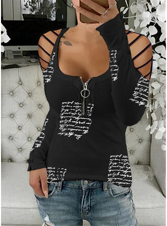 Print Figure Cold Shoulder Long Sleeves Sexy Blouses