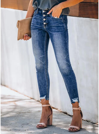 Shirred Plus Size Tassel Elegant Sexy Denim & Jeans