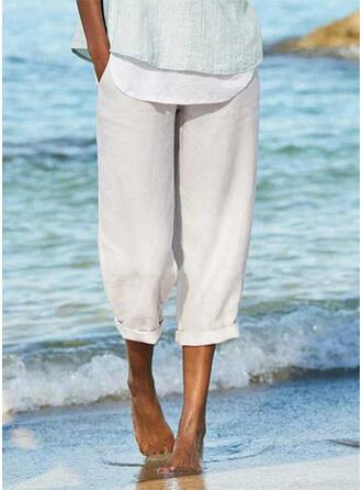 Taschen Shirred Übergröße Midi- Lässige Kleidung Sportlich Hosen