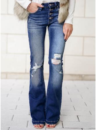 Solid Denim Long Elegant Plus Size Pocket Ripped Button Denim & Jeans