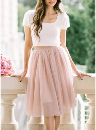 Cotton Blends Plain Knee Length A-Line Skirts