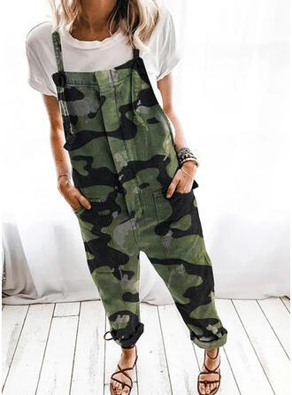 Taschen Übergröße Tarnen Lange Lässige Kleidung Stammes Overalls & Strampler