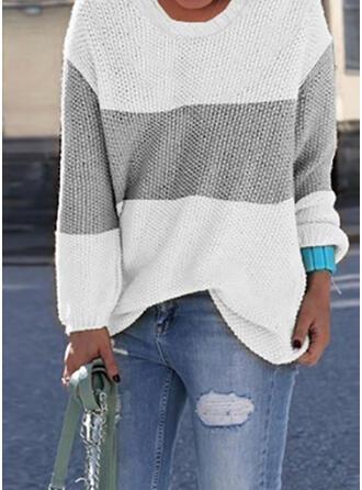 Geblockte Farben Rundhalsausschnitt Freizeit Pullover