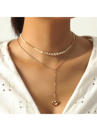Schöne Geschichtet Legierung mit Herz Halsketten
