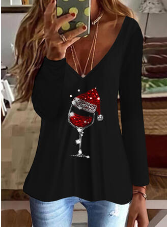 Christmas Sequins V-Neck Long Sleeves T-shirts