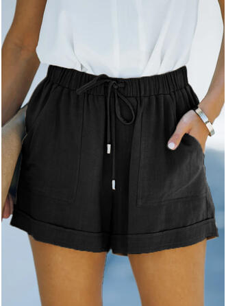 Solid Linen Above Knee Casual Vintage Pants Shorts