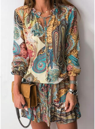 Print Long Sleeves Sheath Above Knee Boho Dresses