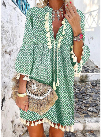 Print/Tassel 3/4 Sleeves/Flare Sleeves Shift Above Knee Casual/Boho/Vacation Dresses