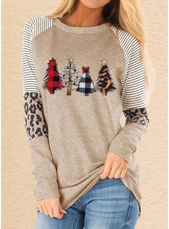 Drucken Gestreift Leopard Rundhalsausschnitt Lange Ärmel Freizeit Weihnachten T-shirts