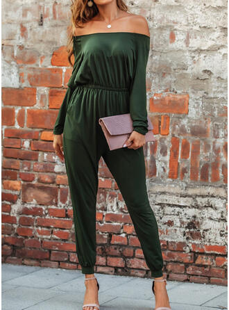 Solid Cold Shoulder Long Sleeves Casual Jumpsuit