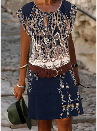 Print/Floral Cap Sleeve Sheath Knee Length Boho Dresses