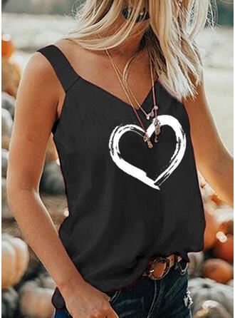 Heart Print Strap Sleeveless Tank Tops