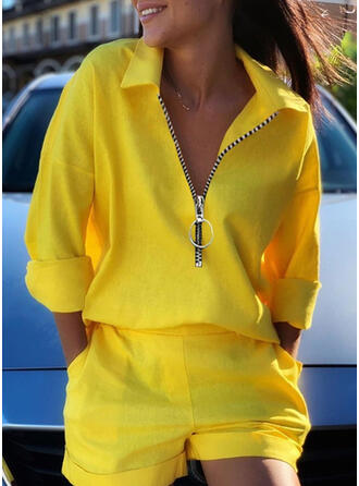 Solid Plus Size Casual Sporty Suits