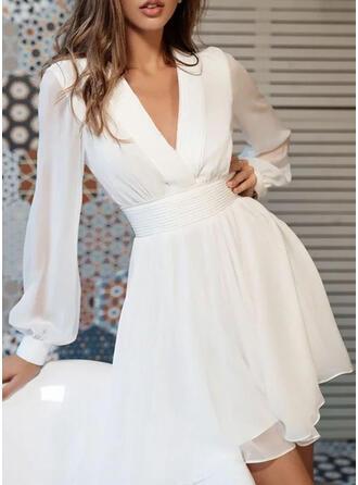 Solid Long Sleeves/Lantern Sleeve A-line Above Knee Elegant Skater Dresses
