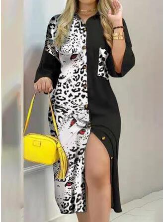 Print/Leopard 3/4 Sleeves Sheath Knee Length Casual T-shirt Dresses
