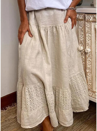 Cotton Blends Plain Maxi Pleated Skirts