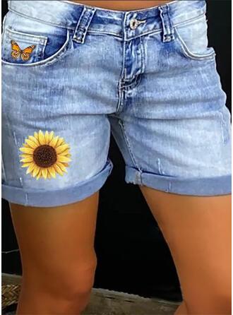 Druck Taschen Shirred Übergröße Über dem Knie Lässige Kleidung Sexy Blumen Baumwollstoff Kurze Hose