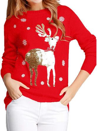 Frauen Polyester Rentier Hässlicher Weihnachtsstrickjacke