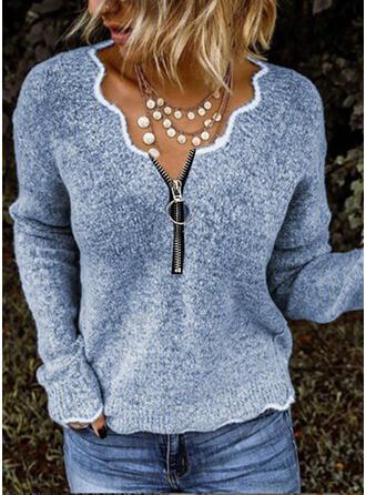 Einfarbig V-Ausschnitt Freizeit Pullover