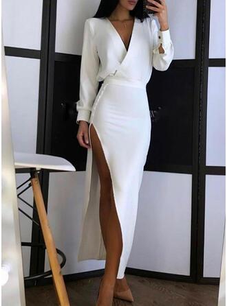 Solid Long Sleeves Lantern Sleeve Sheath Party Maxi Dresses