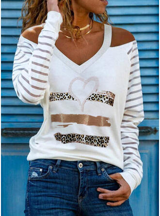 Print Leopard Heart Cold Shoulder Long Sleeves Casual Blouses
