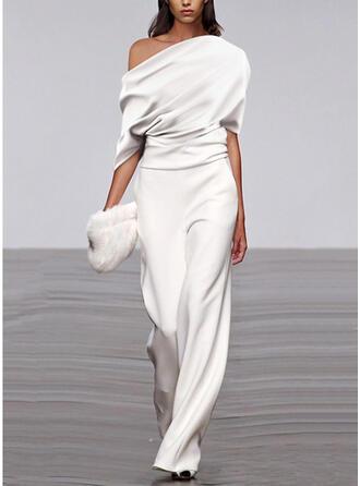 Einfarbig Eine-Schulter 1/2 Ärmel Lässige Kleidung Overall
