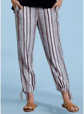 gestreift Shirred Übergröße Lange Lässige Kleidung Einfach Hosen