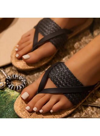 Women's PU Flat Heel Sandals Peep Toe Slippers Round Toe With Braided Strap Split Joint shoes