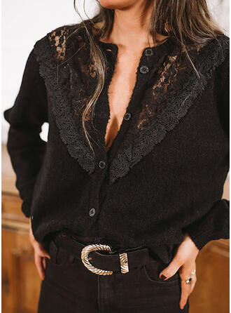 Solid Lace Round Neck Casual Cardigan