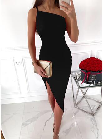 Solid Sleeveless Sheath Knee Length Little Black/Elegant Dresses
