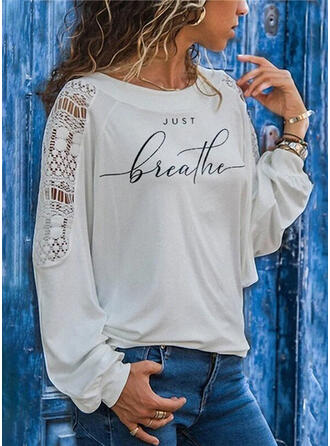Print Lace Figure Round Neck Long Sleeves Casual Blouses