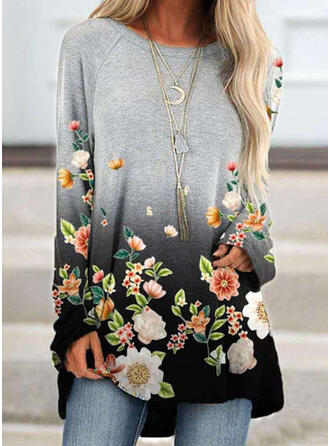 Floral Gradient Print Round Neck Long Sleeves T-shirts