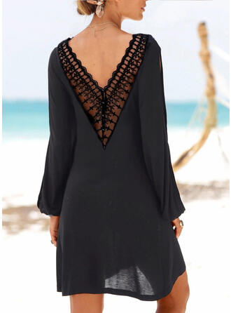 Lace/Solid/Backless Long Sleeves Shift Above Knee Little Black/Casual/Vacation Tunic Dresses