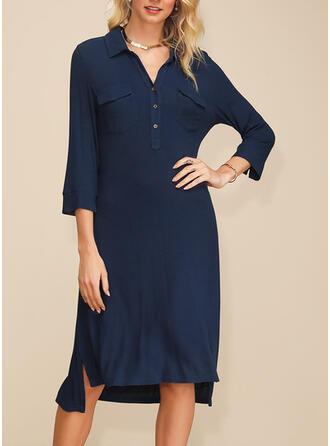 Einfarbig 3/4 Ärmel Shift Asymmetrisch Freizeit/Elegant Tunika Kleider