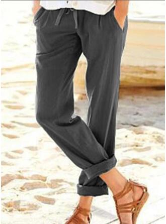 Taschen Übergröße Kordelzug Beschnitten Lässige Kleidung Elegant Hosen